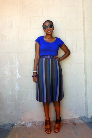 H&M top - leather vintage belt - striped vintage skirt - strappy Mossimo wedges
