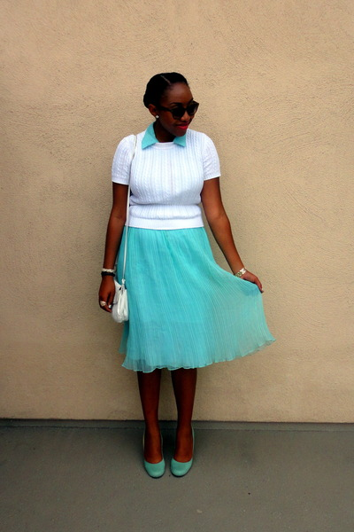 light blue Urban Outfitters heels - light blue pleated chiffon vintage dress