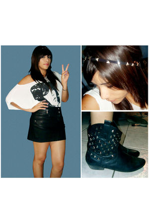 white Forever 21 blouse - black Max Rave skirt - black Forever 21 boots - black