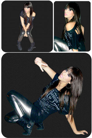 black Ross blouse - silver Max Rave leggings - black Forever 21 boots - silver m
