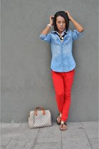 j12 Chanel watch - red Street Code jeans - chambray H&M jacket