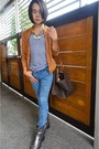 Terranova-boots-acid-wash-demin-hot-topic-jeans-brown-suede-tomato-jacket