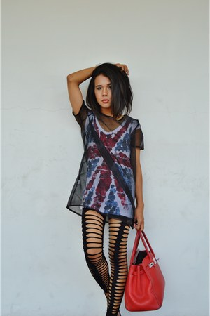 strappy DressLink leggings - mesh DressLink shirt - birkin Hermes bag