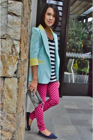 Step Rite shoes - pink plaid Chaps leggings - pastel The Ramp blazer