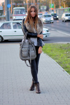 gray H&M jeans - black H&M jacket - dark brown H&M wedges