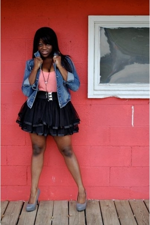 blue Forever 21 jacket - pink Forever 21 t-shirt - black Forever 21 skirt - gray