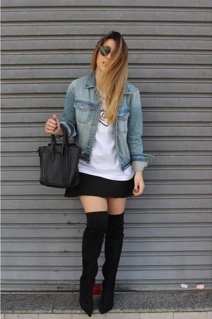 Forever 21 jacket - dior sunglasses - Canal Concept skirt - Mony Mony t-shirt