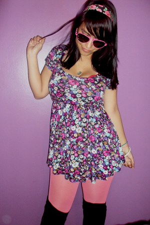 black Wet Seal boots - amethyst flowers Forever 21 dress - bubble gum pink Targe