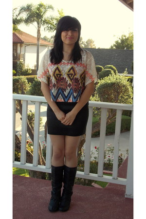 tribal Annabelle shirt - black boots - skirt - necklace