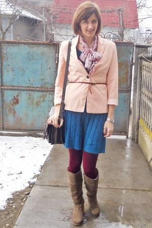 camel Benvenuti boots - teal no name dress - peach Bershka blazer