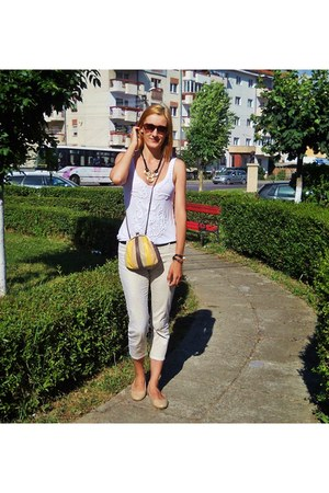 white Zara jeans - yellow Orsay bag - nude no name flats - white pull&bear top