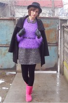 black guara coat - heather gray H&M dress - black H&M hat - purple asos sweater