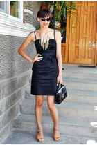 black guara dress - black vintage bag - camel asoscom sandals