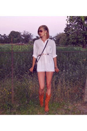 white shirt - tawny SH boots - white no name shorts - gold H&M earrings