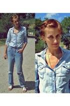 blue lotus jeans - sky blue Forever21 shirt - ivory cotton no name bag