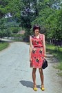 Red-custom-made-dress-black-vintage-bag-yellow-asoscom-sandals