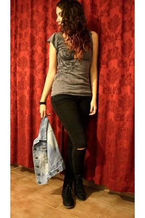 black boots - black Bershka jeans - charcoal gray EDC t-shirt - sky blue vest