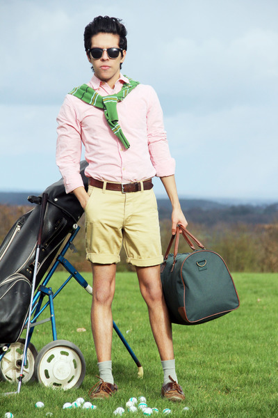 cream Topman shorts - chartreuse next sweater - light pink River Island shirt