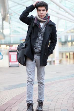 Topman boots - Topman coat - Gap shirt - Topman scarf - next cardigan