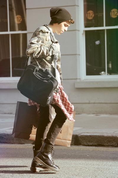 Topman jacket - Dr Martens boots - Moschino hat - vintage shirt - idunno bag