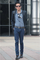 periwinkle Marni shirt - dark brown Topman boots - cream silk Marni scarf - bag