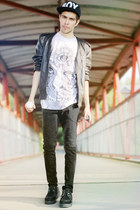 white Illustrated People t-shirt - Boy London hat - leather DIY jacket