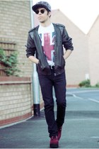 Topman pants - Underground shoes - idk hat - DIY jacket - Topman t-shirt