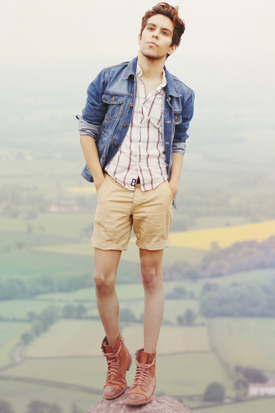 Topman boots - denim Topman jacket - Gap shirt - Topman shorts