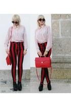 red Motel Rocks jeans - eggshell vintage blouse - black Jeffrey Campbell wedges