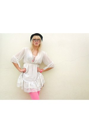 hot pink shoes - white dress - black H&M hat - hot pink Claires tights