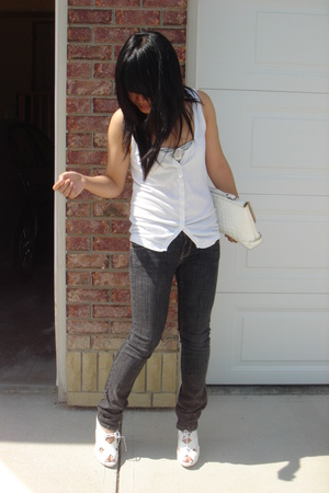 vest - jeans - Aldo shoes - moms old purse