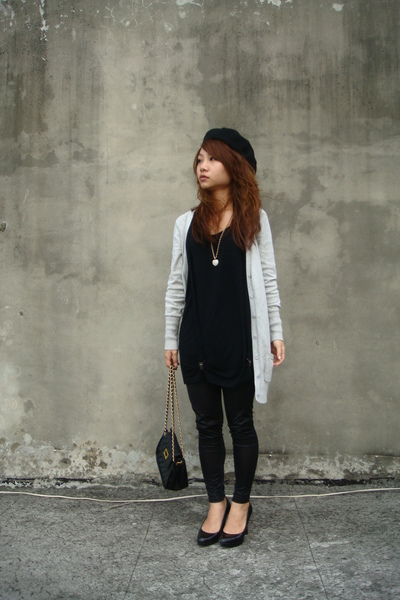 hat - vest - Zara sweater - leggings - shoes - Top Shop purse