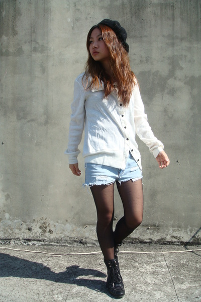 black hat - white sweater - blue shorts - black stockings - black boots