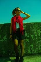 H&M scarf - NET vest - belt - skirt - Nine West shoes