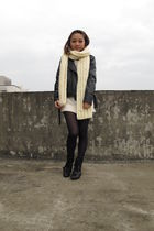 black jacket - white scarf - white sweater