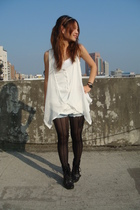 black stockings - white vest