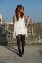 black stockings - white vest