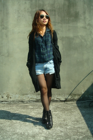 black Armani Exchange sweater - black Nine West boots - green shirt