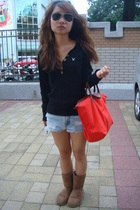 American Eagle sweater - shorts - boots - longchamp purse