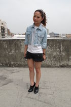 blue jacket - black shorts - white top - black shoes