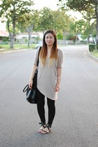 black asos leggings - beige asymmetrical shirt - black H&M purse