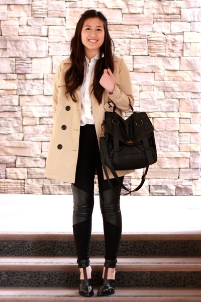 Black Leather Patched H&M Leggings, Tan Trench Forever 21 ...