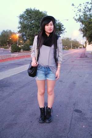 forever 21 top - scarf - forever 21 vest - H&M jacket - forever 21 shorts - fore