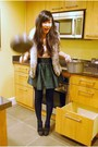 Pink-h-m-top-green-h-m-skirt-brown-forever-21-vest-black-juicy-couture-sho