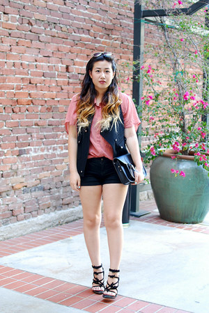 black tempest Alexander Wang shoes - salmon backless foreign exchange shirt