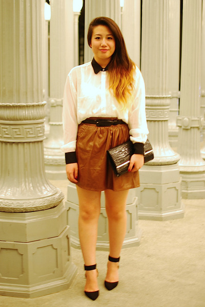 white American Apparel shirt - black Zara shoes - black clutch Forever 21 purse
