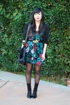 floral Kimchi Blue dress - black oxfords Dolce Vita shoes