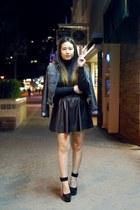 black turtleneck Forever 21 sweater - blue denim  leather DIY jacket