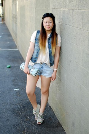 light blue denim H&M shorts - light blue bow tie Opening Ceremony boots