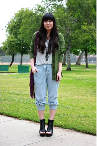 gray H&M shirt - green Gap cardigan - blue Forever 21 pants - purple Forever 21